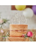 CAKE TOPPER HAPPY BIRTHDAY IN LEGNO