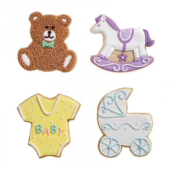 Biscotti Cavallo A Dondolo Pasta Di Zucchero.Set 4 Tagliabiscotti Baby Metallo Colorato