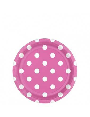 PIATTINI DI CARTA ROSA POIS DESSERT PARTY 18CM (8PZ)