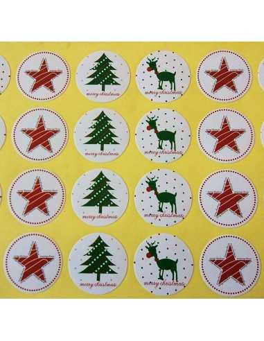 STICKERS ADESIVI  MERRY CHRISTMAS (24PZ)